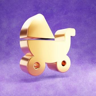 Ícone de carrinho de bebê isolado em veludo violeta