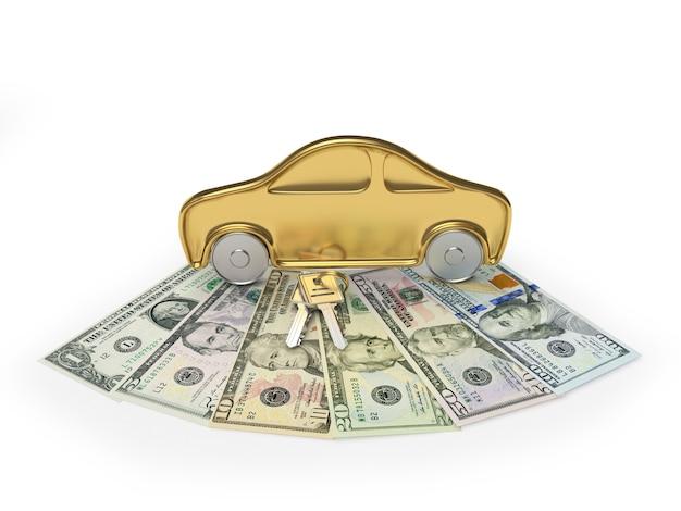 Ícone de carro dourado em notas de dólar