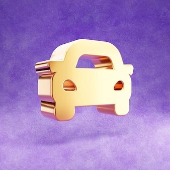 Ícone de carro isolado em veludo violeta