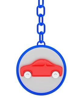 Ícone de carro vermelho no chaveiro redondo azul
