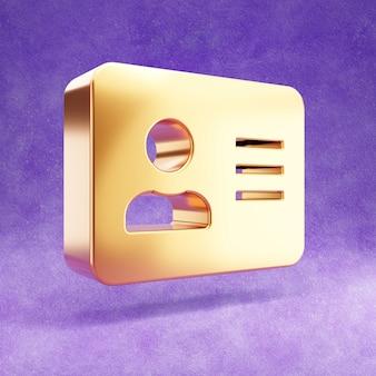 Ícone de cartão de identificação dourado isolado em veludo violeta