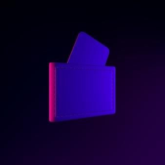 Ícone de carteira de néon com cartões bancários. elemento de interface ui ux de renderização 3d. símbolo escuro e brilhante.