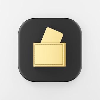 Ícone de carteira de ouro com cartões bancários. chave do botão quadrado preto de renderização 3d, elemento interface ui ux.