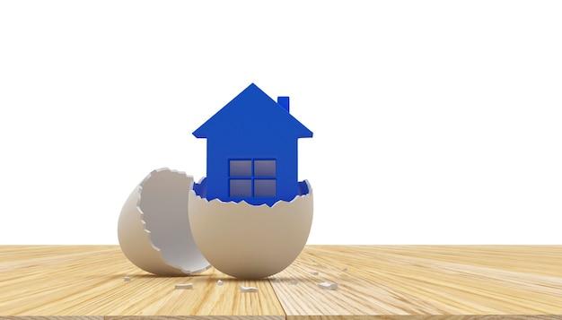 Ícone de casa azul em ilustração 3d de casca de ovo quebrada