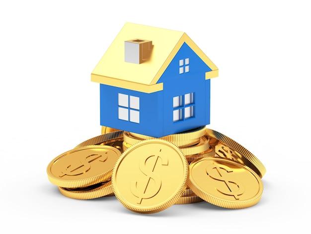 Ícone de casa azul em uma pilha de moedas