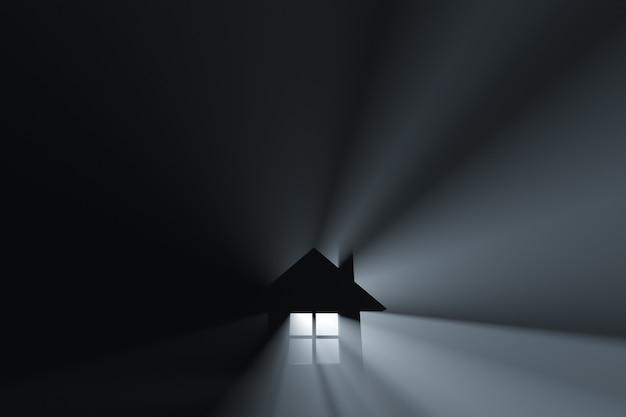Ícone de casa brilhante. feixes de luz.