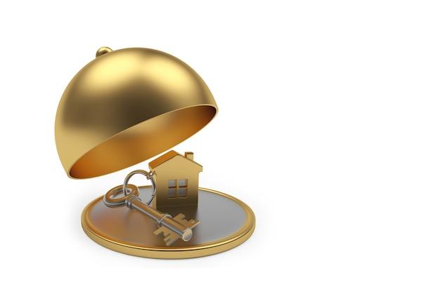 Ícone de casa com chave na bandeja dourada com tampa aberta