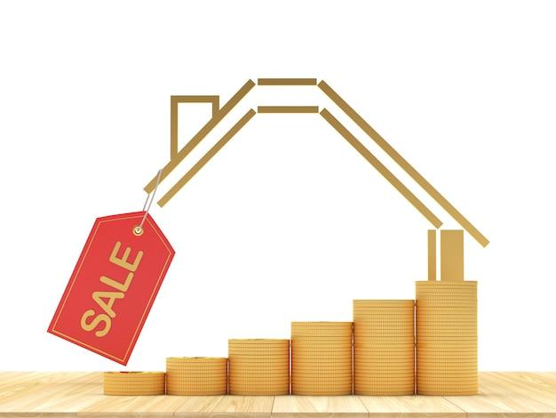 Ícone de casa com gráfico de moedas e etiqueta de venda