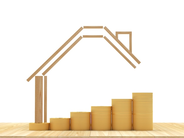 Ícone de casa com gráfico de pilhas de moedas na madeira