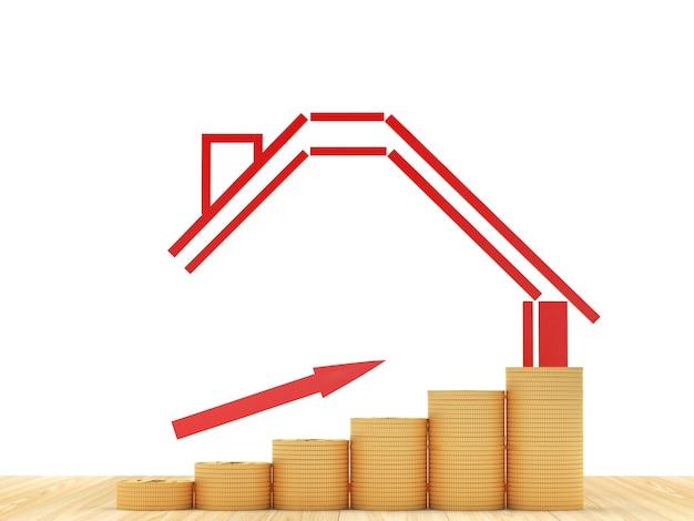 Ícone de casa com gráfico de seta e moeda