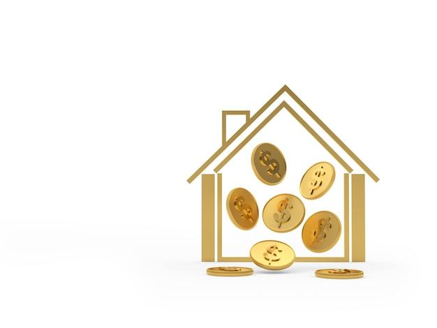 Ícone de casa com moedas dentro