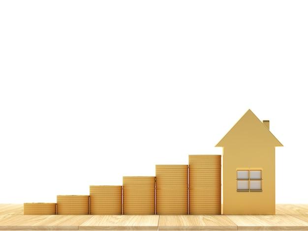 Ícone de casa com pilhas de moedas como um gráfico
