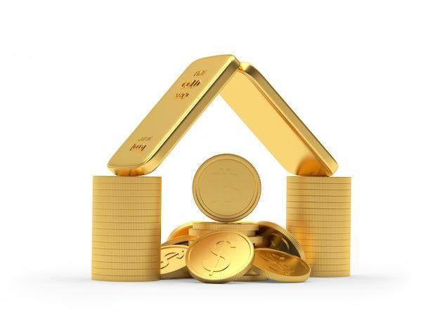 Ícone de casa de dinheiro e barras de ouro com moedas de dólar e bitcoin
