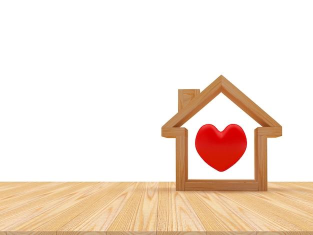 Ícone de casa de madeira com coração vermelho dentro