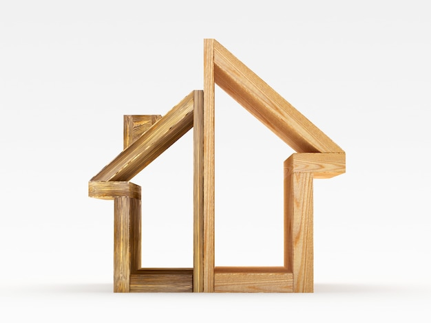 Ícone de casa de madeira com duas partes de tamanhos diferentes