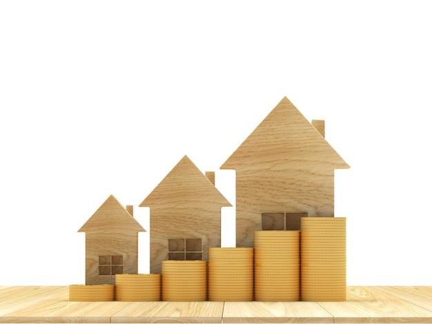 Ícone de casa de madeira com moedas como um gráfico