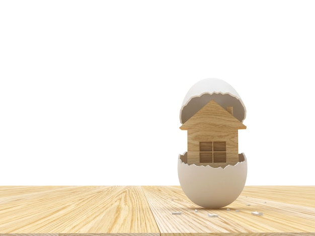 Ícone de casa de madeira em casca de ovo quebrada na madeira