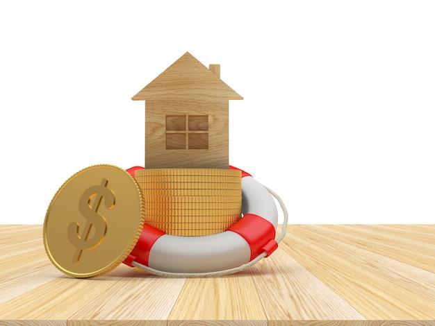 Ícone de casa de madeira em moedas de dólar em uma bóia salva-vidas 3d