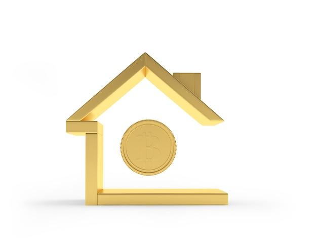 Ícone de casa de ouro com moeda bitcoin