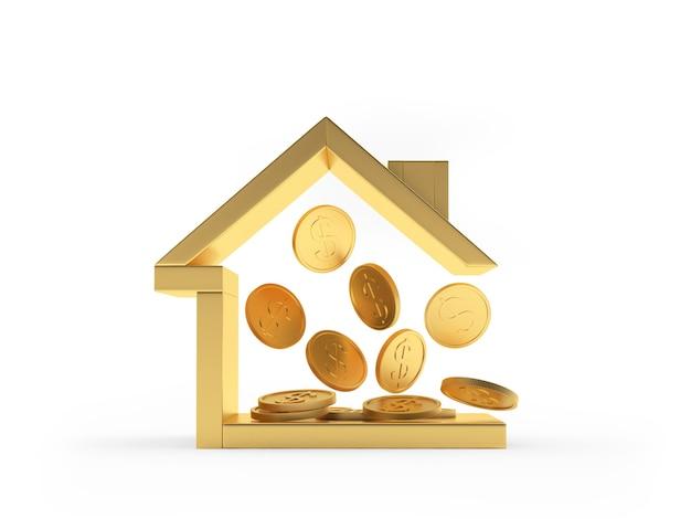 Ícone de casa de ouro com moedas