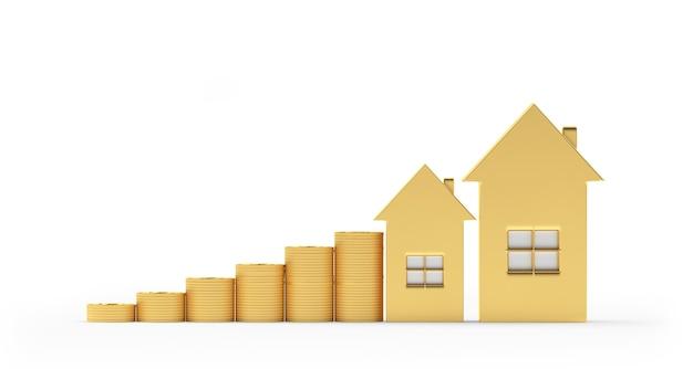 Ícone de casa de ouro com pilhas de moedas como um gráfico