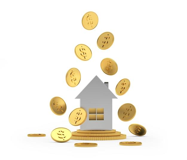 Ícone de casa de prata com moedas de dólar caindo
