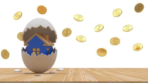 Ícone de casa dentro de casca de ovo quebrada e moedas ao redor