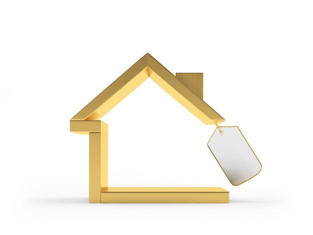 Ícone de casa dourada com etiqueta em branco