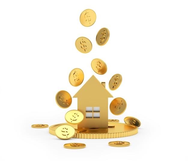 Ícone de casa dourada com moedas de dólar caindo 3d