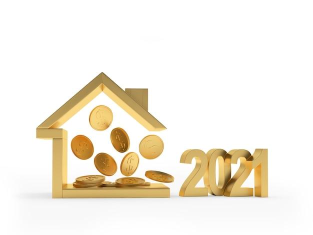 Ícone de casa dourada com moedas dentro e número
