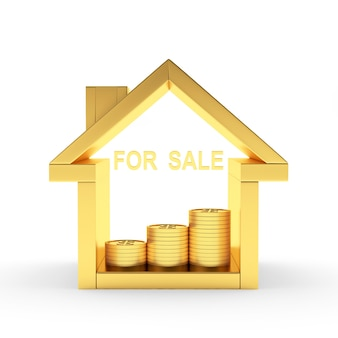 Ícone de casa dourada com moedas e palavra para venda