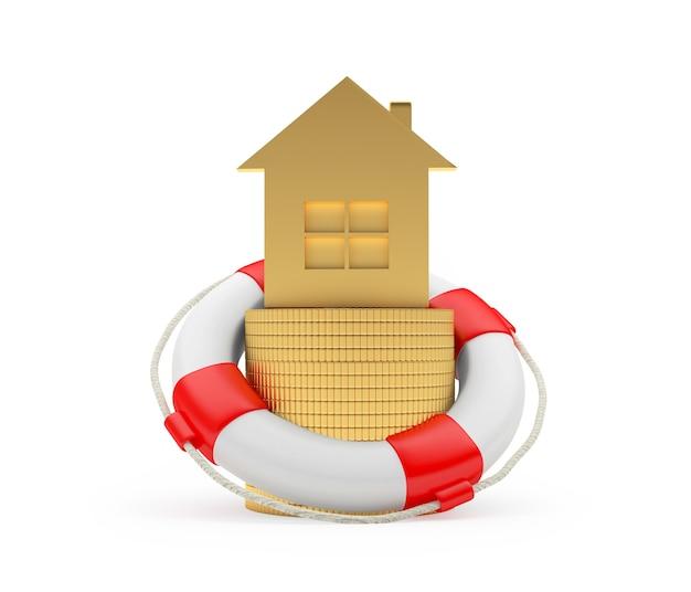 Ícone de casa dourada com moedas em uma bóia salva-vidas
