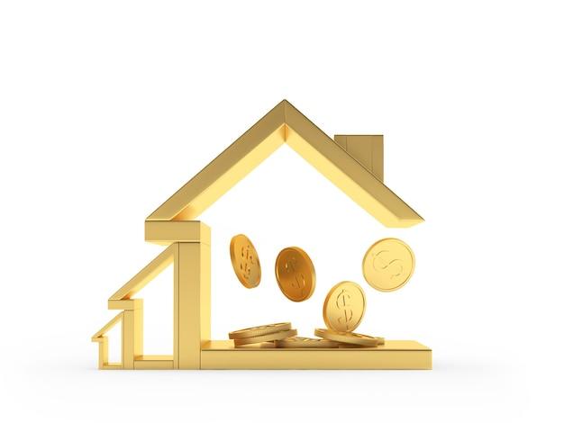 Ícone de casa dourada com moedas