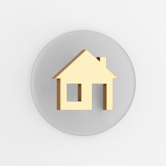 Ícone de casa dourada de vista frontal. botão chave redondo cinza de renderização 3d, elemento interface ui ux.