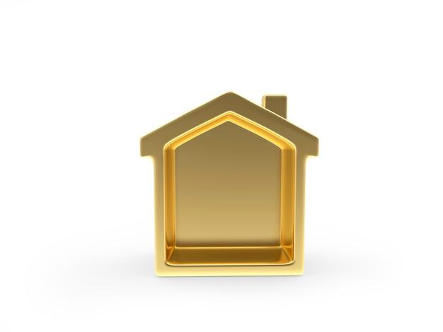 Ícone de casa dourada em branco