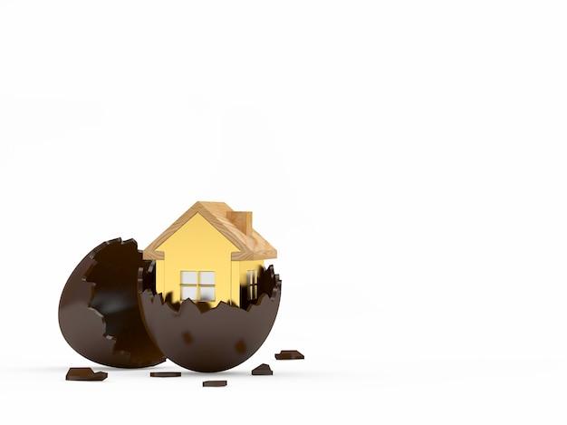 Ícone de casa dourada em ovo de páscoa de chocolate quebrado