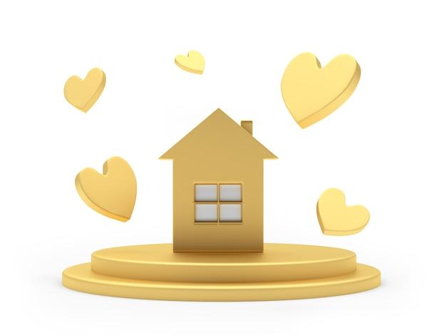 Ícone de casa dourada em um suporte com corações