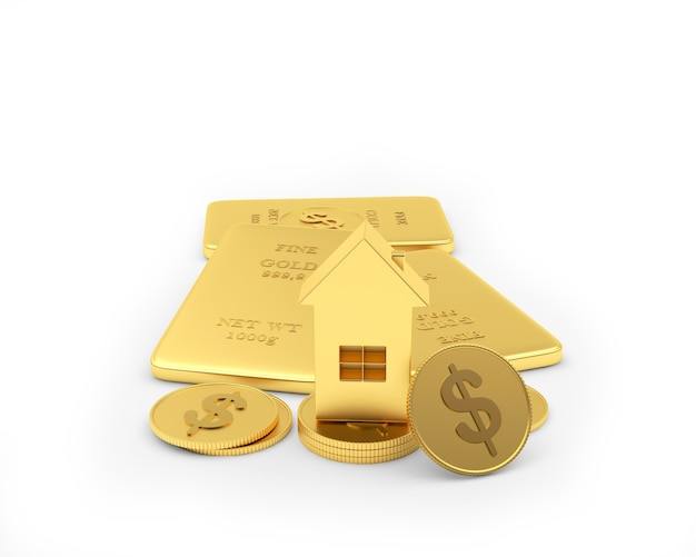 Ícone de casa em barras de ouro e moedas de dólar