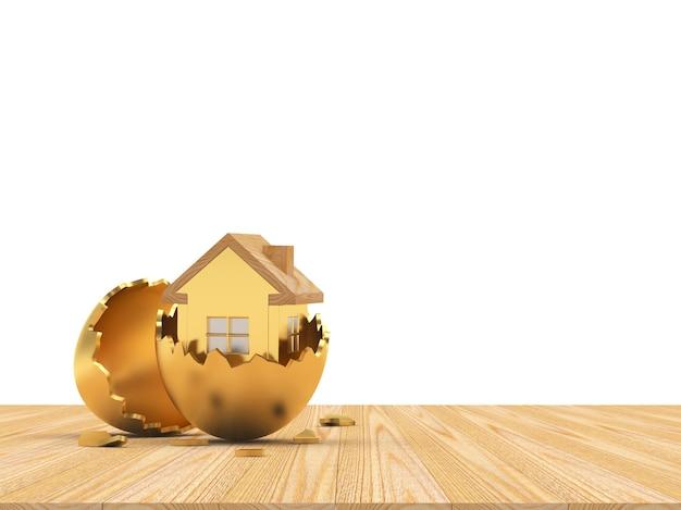 Ícone de casa em uma casca de ovo dourada quebrada