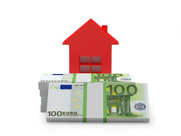 Ícone de casa nas notas de euro. 3d