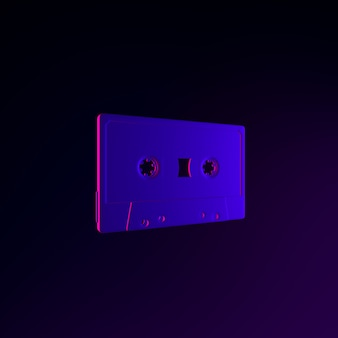 Ícone de cassete de néon. elemento de interface ui ux de renderização 3d. símbolo escuro e brilhante.