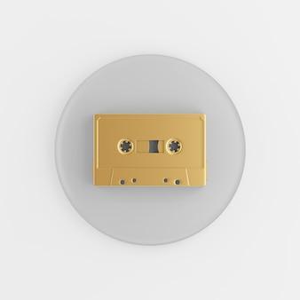Ícone de cassete dourado. botão chave redondo cinza de renderização 3d, elemento interface ui ux.