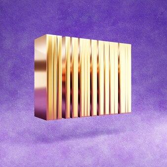 Ícone de código de barras isolado em veludo violeta