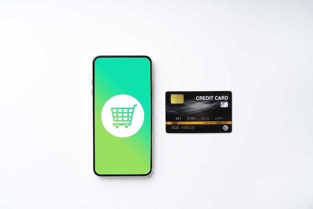 Ícone de compras online em um cubo colorido de quebra-cabeça