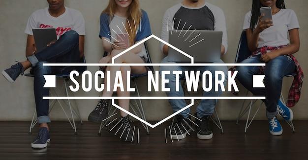 Ícone de comunicação de conexão de rede social