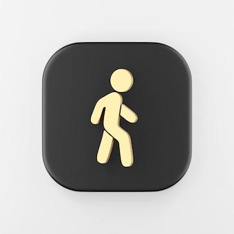 Ícone de contorno plano do homem dourado ambulante. chave do botão quadrado preto de renderização 3d, elemento interface ui ux.