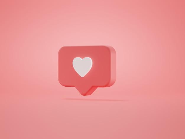Ícone de coração de amor em pino quadrado arredondado rosa isolado no fundo rosa da parede ilustração 3d