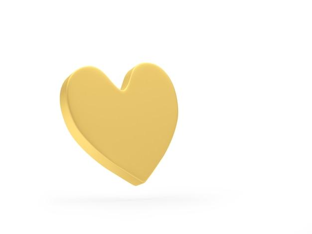 Ícone de coração dourado 3d
