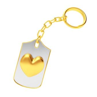 Ícone de coração dourado no chaveiro