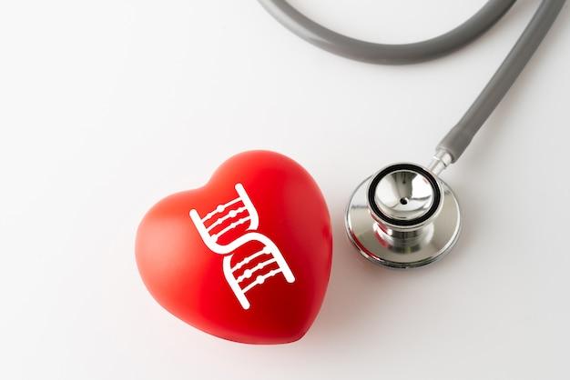 Ícone de coração e estetoscópio, médico & conceito de cuidados de saúde